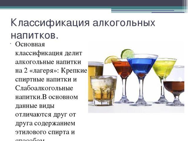 классификация спиртных напитков