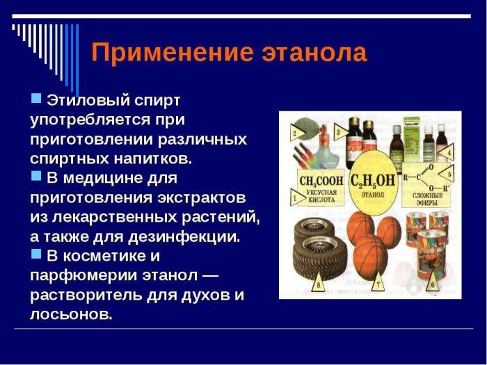 применение этилового спирта